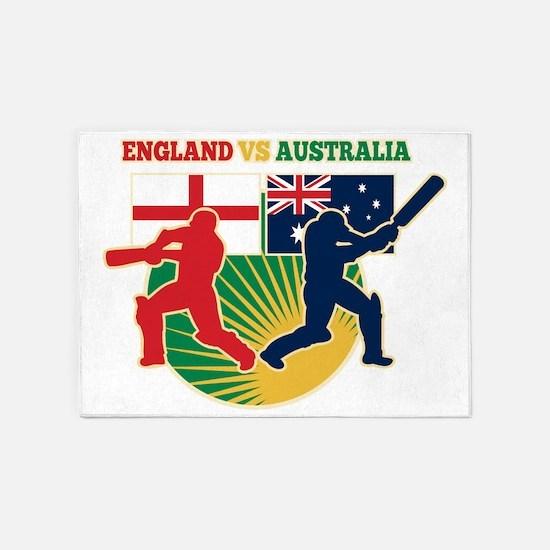 cricket sports batsman England vs A 5'x7'Area Rug