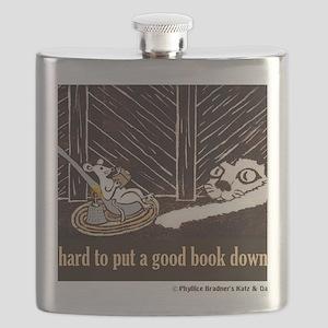 Hard to put a good book down-shirt Flask