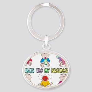 Babies Are My Business 6 kids Oval Keychain