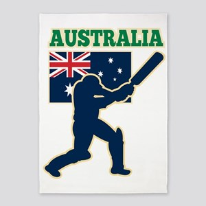 cricket sports batsman  Australia f 5'x7'Area Rug