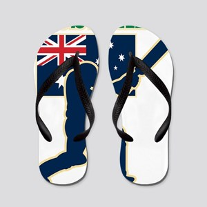 cricket sports batsman  Australia flag Flip Flops