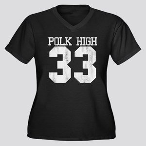 polkhigh33-W Women's Plus Size Dark V-Neck T-Shirt