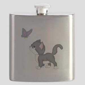 Kitty Found a Friend Flask