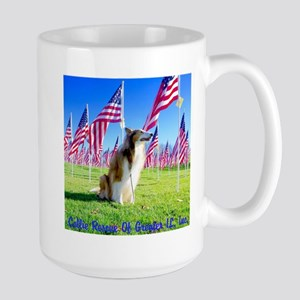 Rescue Collie With Flags Mugs