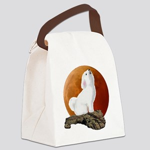 Howling at the moon 10 by 10 Canvas Lunch Bag
