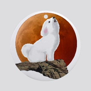 Howling at the moon 10 by 10 Round Ornament