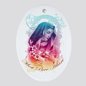 Most Pure Heart of Mary (vertical) Oval Ornament
