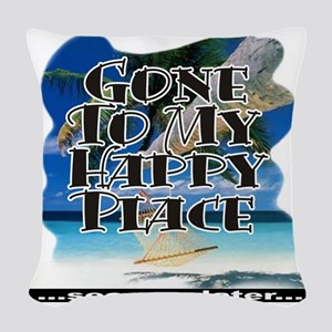 HappyBeach12x12 Woven Throw Pillow