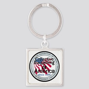 Collective Bargaining Square Keychain