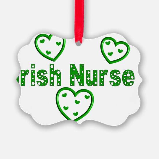 Irish Nurse 3 Green Hearts with H Ornament