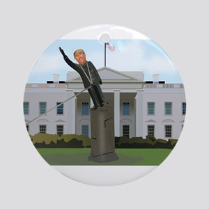 Trump Toppling Round Ornament