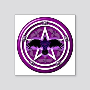 "Purple Crow Pentacle - tran Square Sticker 3"" x 3"""