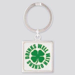 Drinks Well With Others Square Keychain