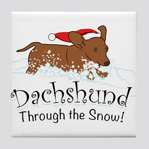 Dachshund Through The Snow Tile Coaster