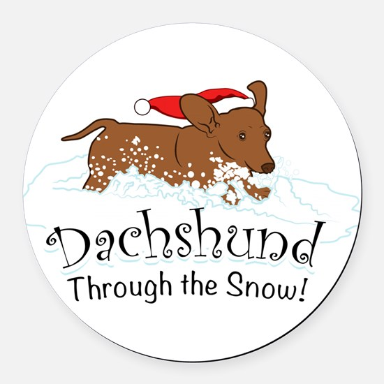 Dachshund Through The Snow Round Car Magnet