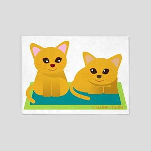 2cat and cat 5'x7'Area Rug