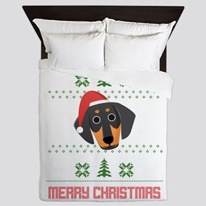Dachshund Santa Snow Christmas T-Shirt Queen Duvet