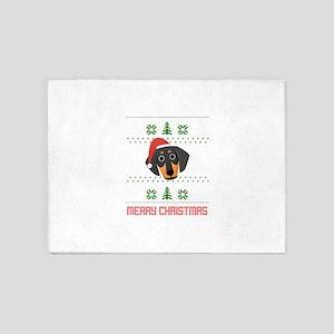 Dachshund Santa Snow Christmas T-Sh 5'x7'Area Rug