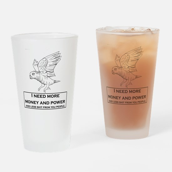 parrot_wings_money_less_shit Drinking Glass