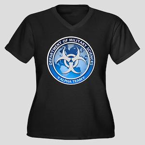 DMS-MABERRY- Women's Plus Size Dark V-Neck T-Shirt
