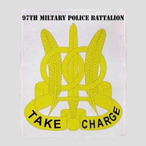 DUI-97TH MIL PLC BN  WITH TEXT Throw Blanket