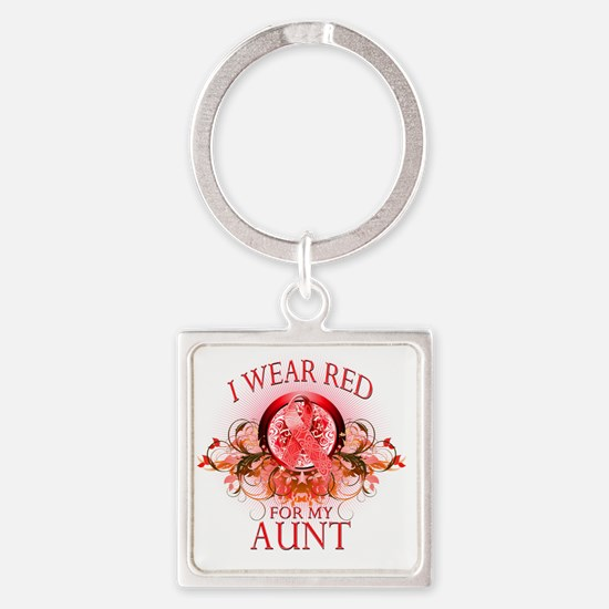 I Wear Red for my Aunt (floral) Square Keychain
