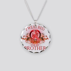 I Wear Red for my Brother (f Necklace Circle Charm