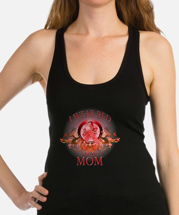 I Wear Red for my Mom (floral) Racerback Tank Top