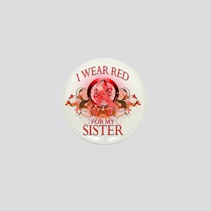 I Wear Red for my Sister (floral) Mini Button