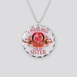 I Wear Red for my Sister (fl Necklace Circle Charm