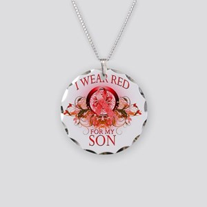 I Wear Red for my Son (flora Necklace Circle Charm