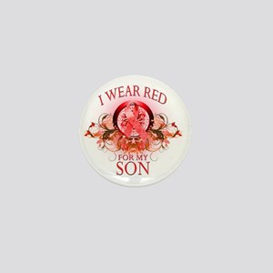 I Wear Red for my Son (floral) Mini Button