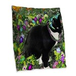 Freckles Tux Cat Easter Eggs Burlap Throw Pillow