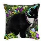Freckles Tux Cat Easter Eggs Woven Throw Pillow