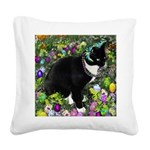 Tux Cat in Easter Eggs Square Canvas Pillow