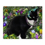 Freckles Tux Cat in Easter Eggs Throw Blanket
