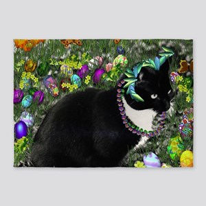 Freckles Tux Cat in Easter Eggs 5'x7'Area Rug