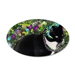 Freckles Tux Cat Easter Eggs 20x12 Oval Wall Decal