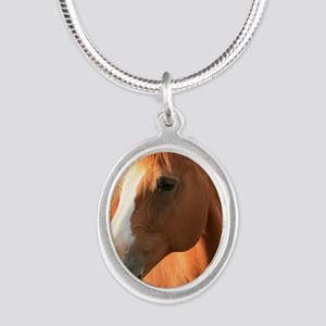 horse Silver Oval Necklace