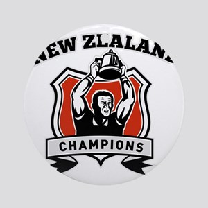 Rugby player New Zealand championsh Round Ornament