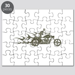 Skeleton Biker with Flames Puzzle