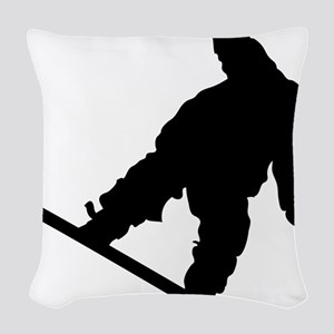 snowboarderB01 Woven Throw Pillow