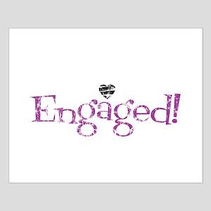 Retro Purple Engaged! Small Poster
