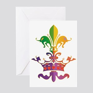 MardiGrasLoveCrownTR Greeting Card
