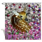 Bambina the Fawn in Flowers II Shower Curtain