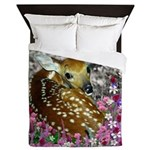 Bambina the Fawn in Flowers II Queen Duvet