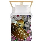Bambina the Fawn in Flowers II Twin Duvet