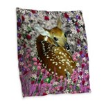 Bambina the Fawn in Flowers II Burlap Throw Pillow