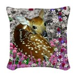 Bambina the Fawn in Flowers II Woven Throw Pillow