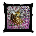 Bambina the Fawn in Flowers II Throw Pillow